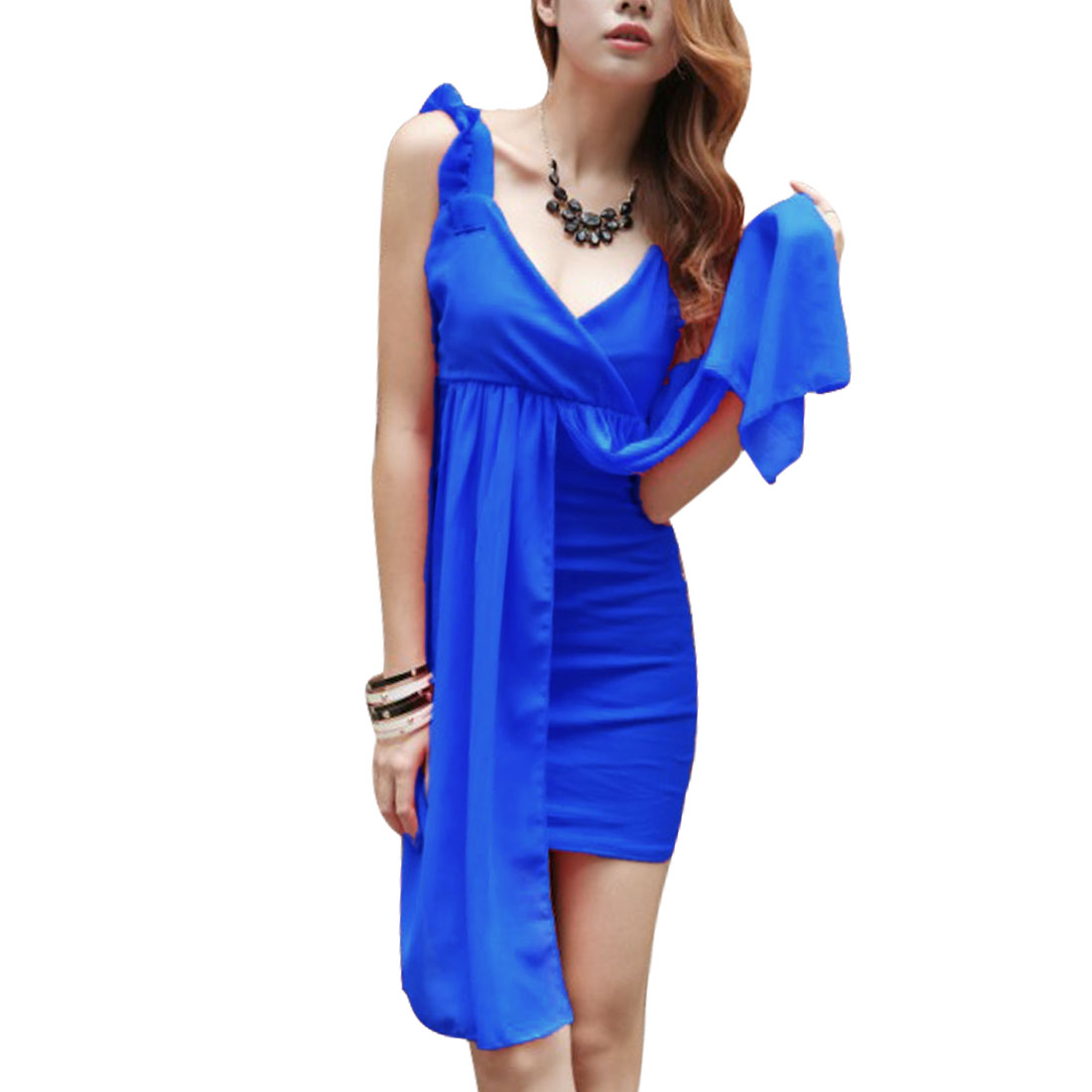 Women Pullover Ruffle Decor Strap Mini Dress Royal Blue XS