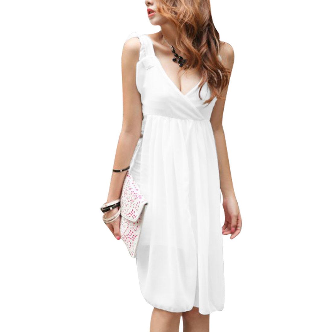 Women Deep V Neck Sleeveless Sheath Dress White XS
