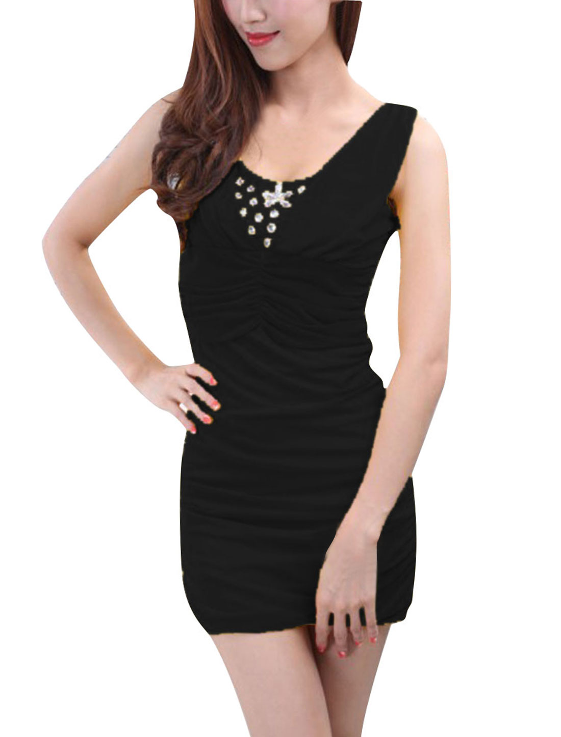 Woman Scoop Neck Ruched Bust Design Rhinestones Decor Black Mini Dress XS