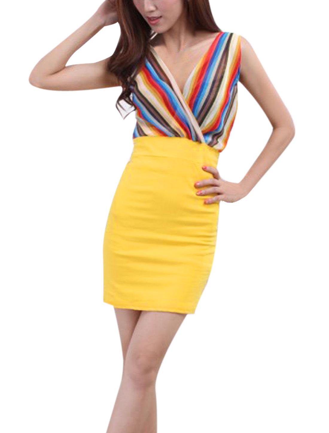Women Sleeveless Pullover Stripes Mini Dress Yellow Blue XS