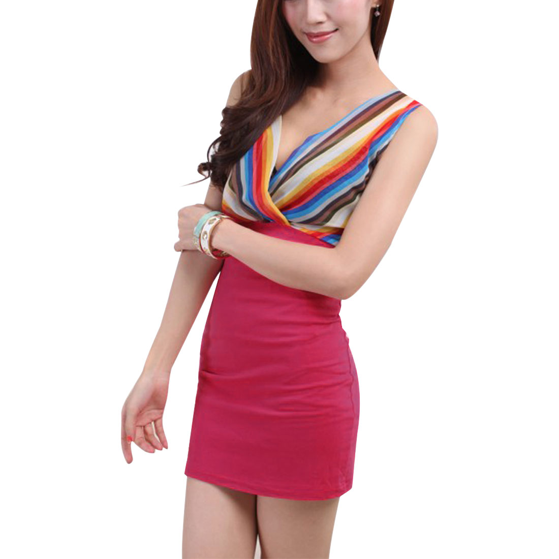 Women Cross V Neck Sleeveless Mini Dress Fuchsia Yellow XS