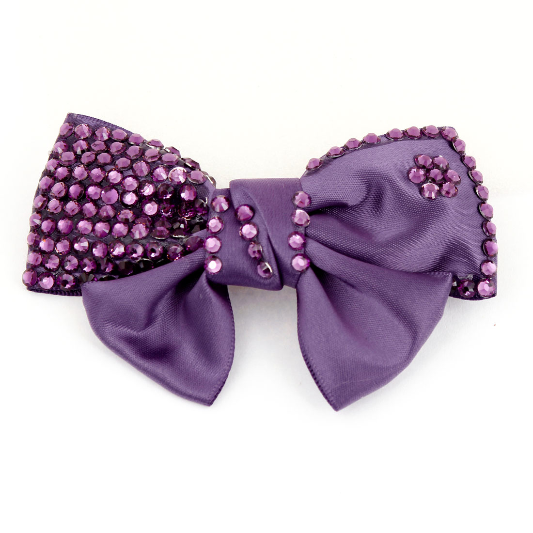 Purple Plastic Shiny Rhinestone Decorated Bowknot Alligator Hair Clip