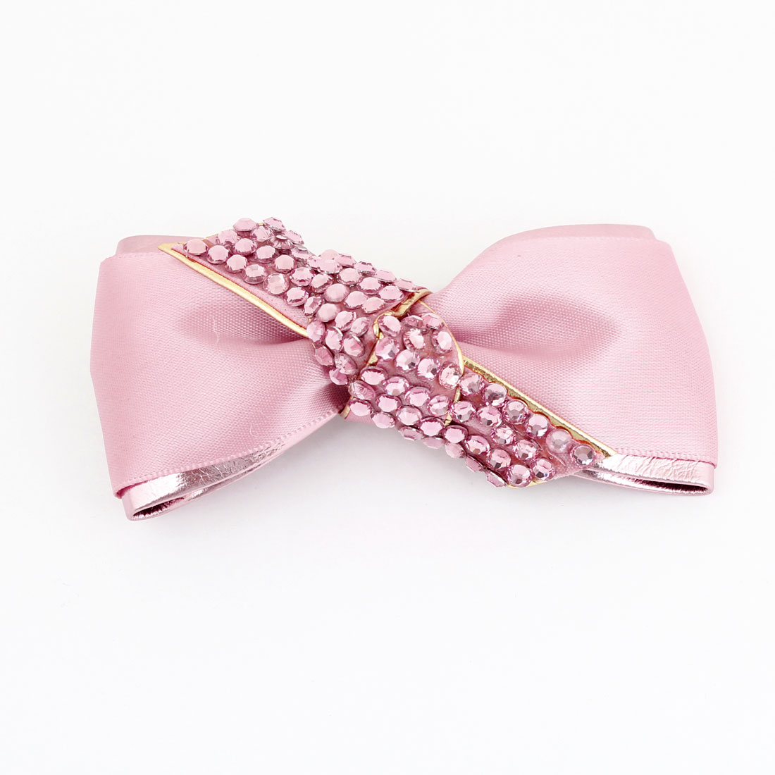 Ladies Peach Pink Shiny Rhinestone Accent Bowknot Alligator Hair Clip