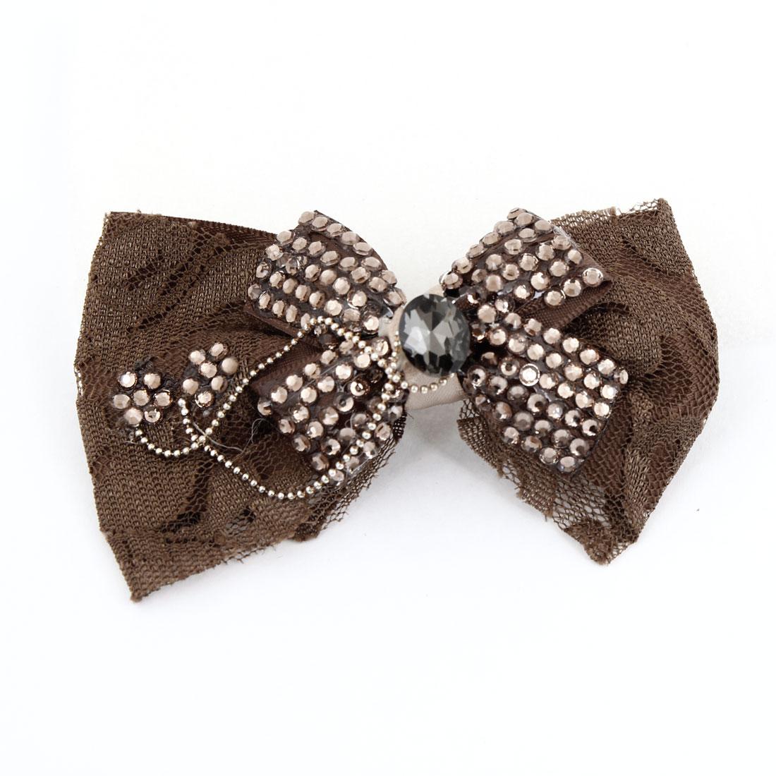 Lady Coffee Color Shiny Rhinestone Ornament Bowknot Alligator Hair Clip