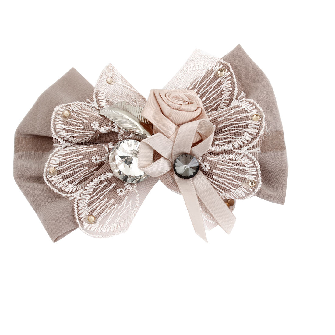 Rose Brown Flowers Rhinestone Accent Bowknot Alligator Hair Clip for Lady
