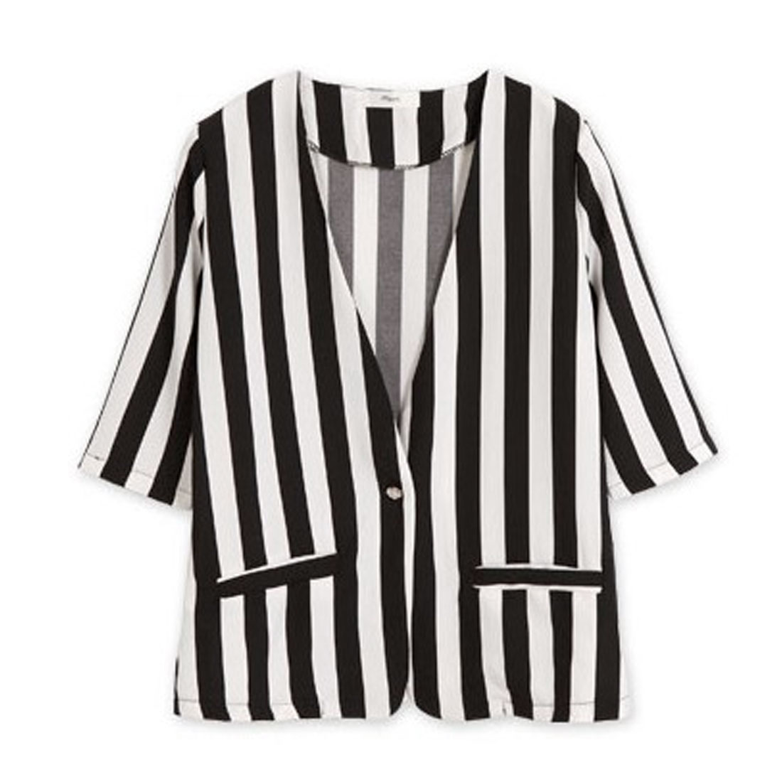 Ladies Chic One-Button Front Vertical Stripes Pattern Black White Casual Coat XS