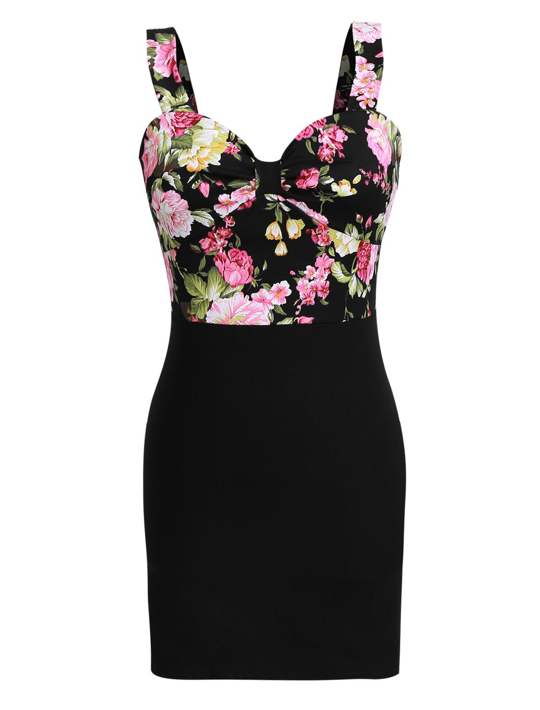 Women Sweetheart Neckline Backless Floral Sheath Dress Black XS