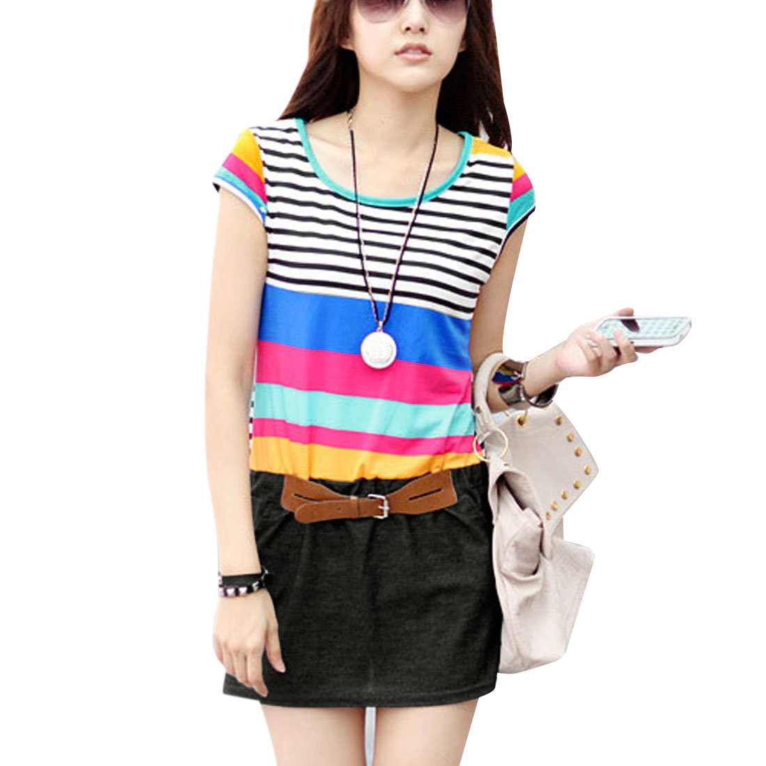 Ladies Round Neck Cap Sleeve Design Stripes Pattern Multicolor Mini Dress XS