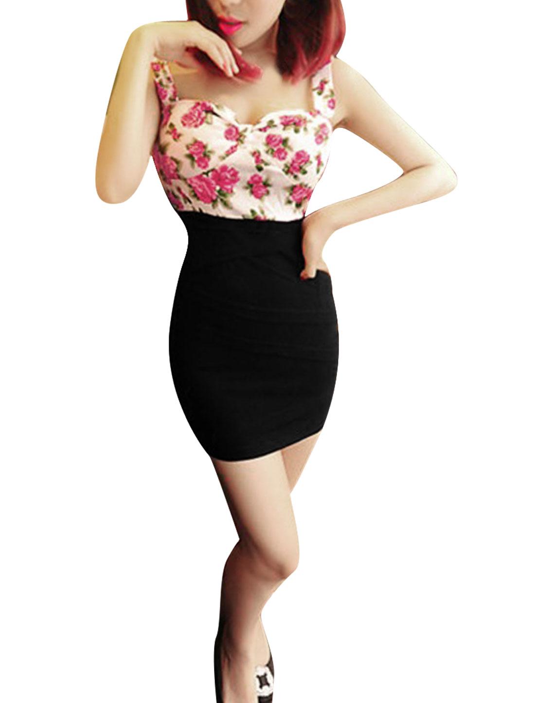 Women Sweetheart Neckline Backless Floral Sheath Dress White XS