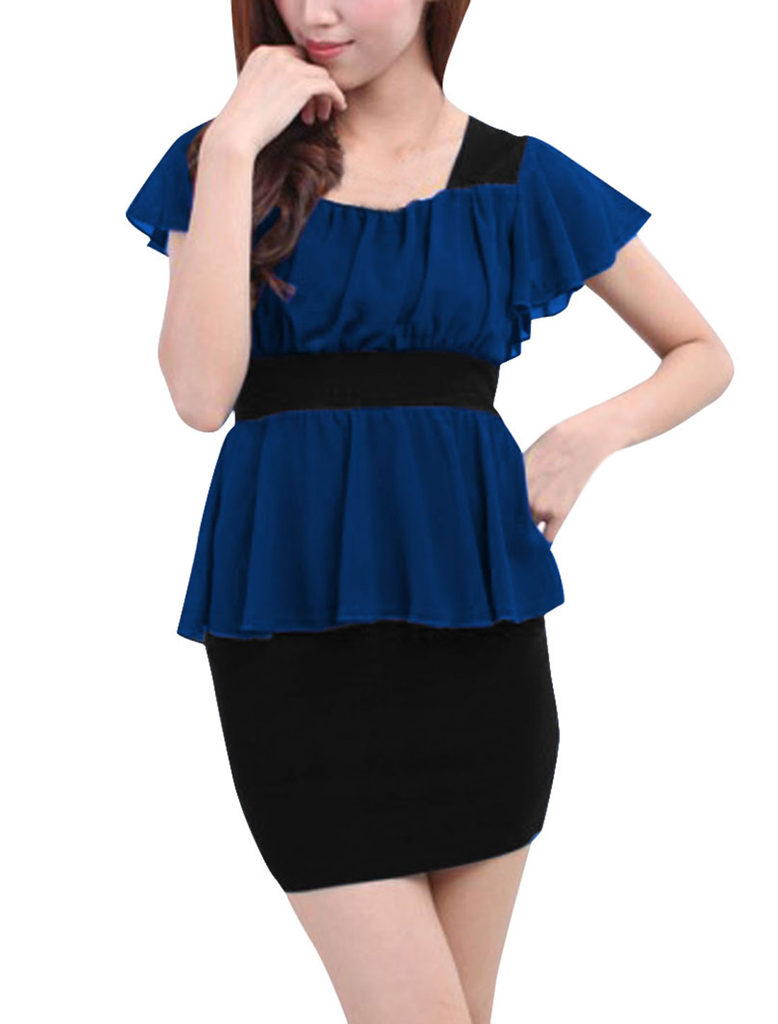 Women Square Neck Butterfly Sleeves Paneled Peplum Dress Blue Black XS