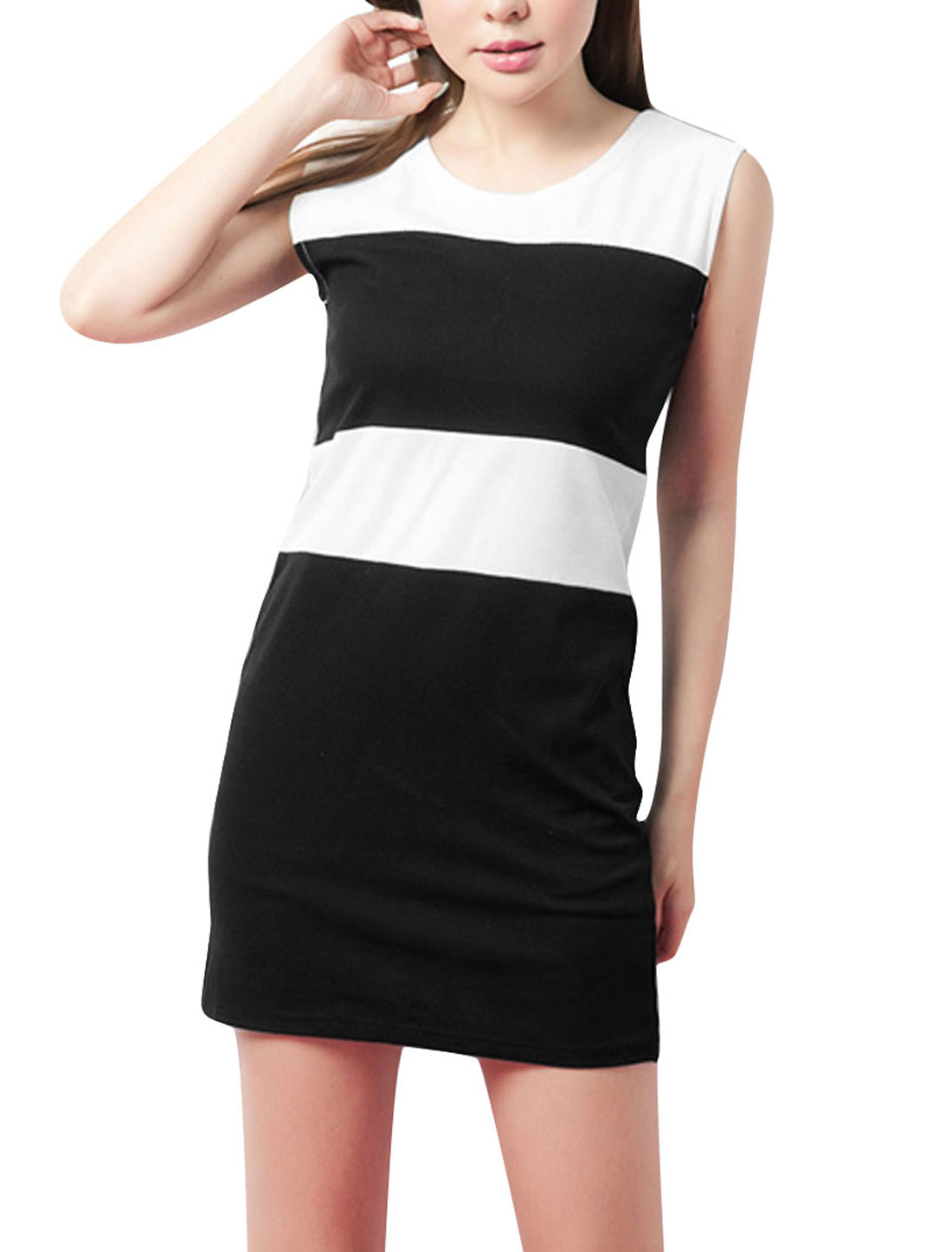 Ladies Chic Round Neck Sleeveless Contrast Color Black White Mini Dress XS