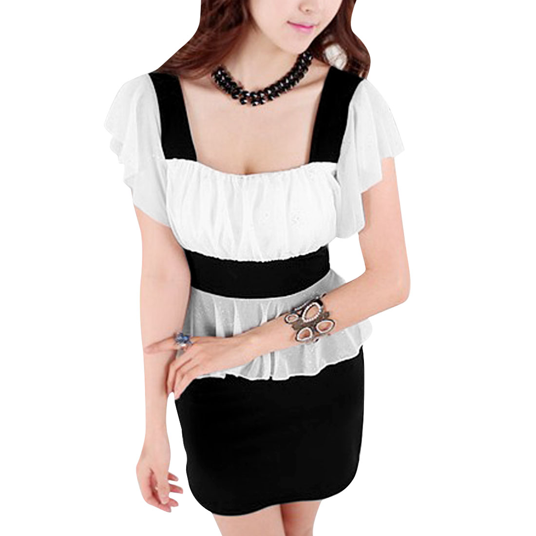 Women Square Neck Pullover Splice Peplum Dress White Black XS