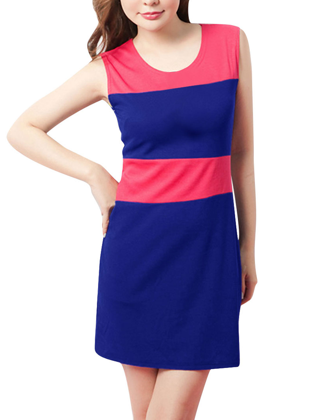 Woman NEW Round Neck Color Blocking Royalblue Fuchsia Casual Mini Dress XS