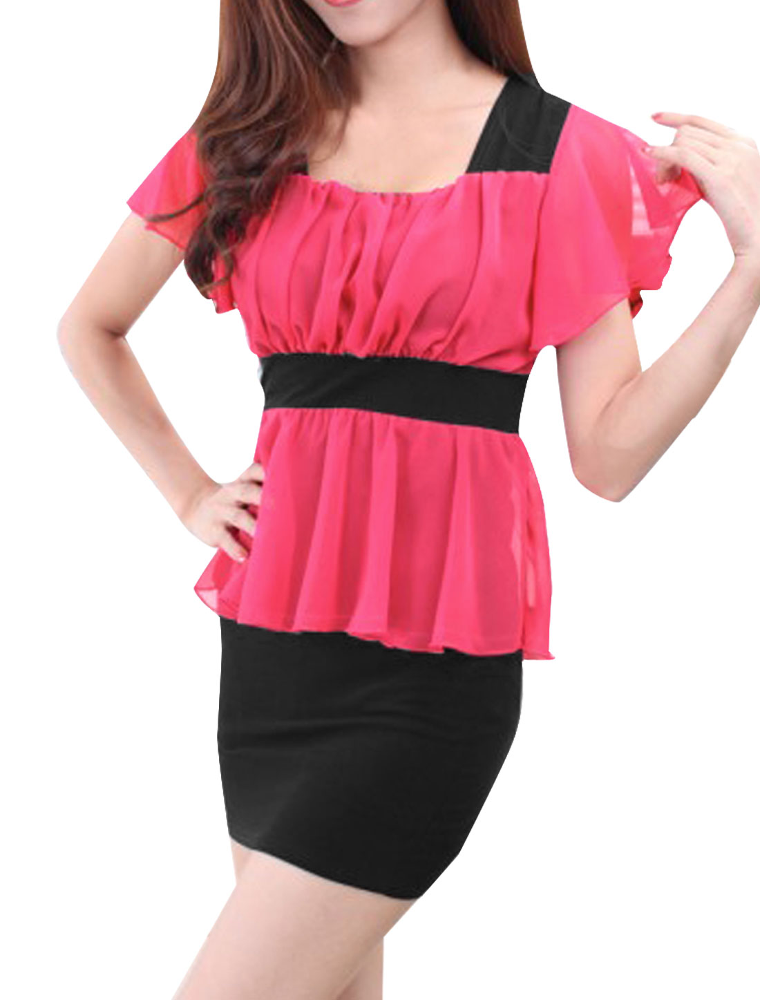 Women Square Neck Butterfly Sleeves Paneled Peplum Dress Pink Black XS