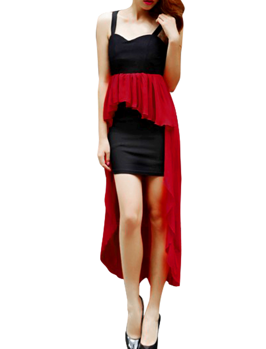 Women Crossover Straps Low High Dress Red Black XS