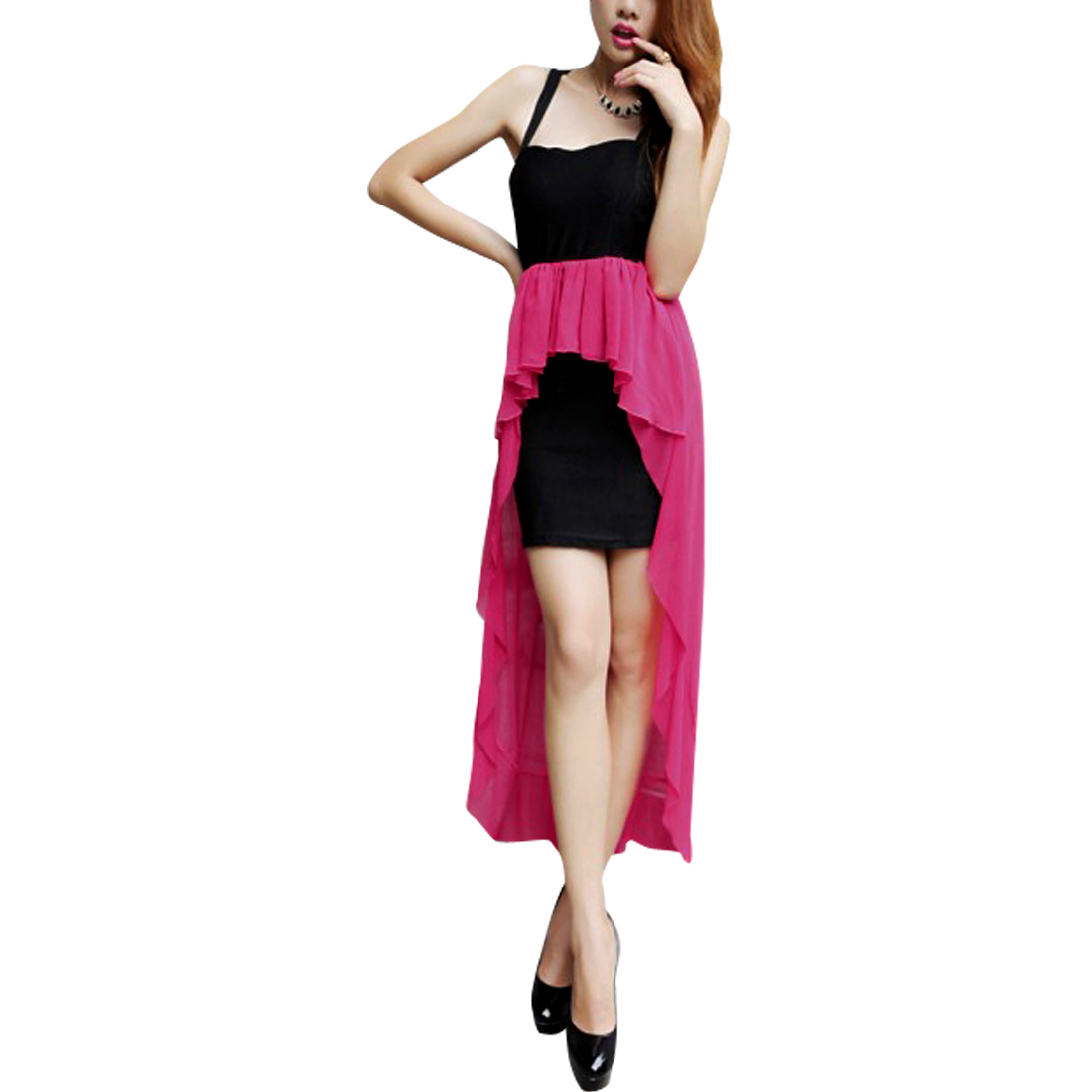 Women Elastic Waist Sleeveless Splice Dress Fuchsia Black XS
