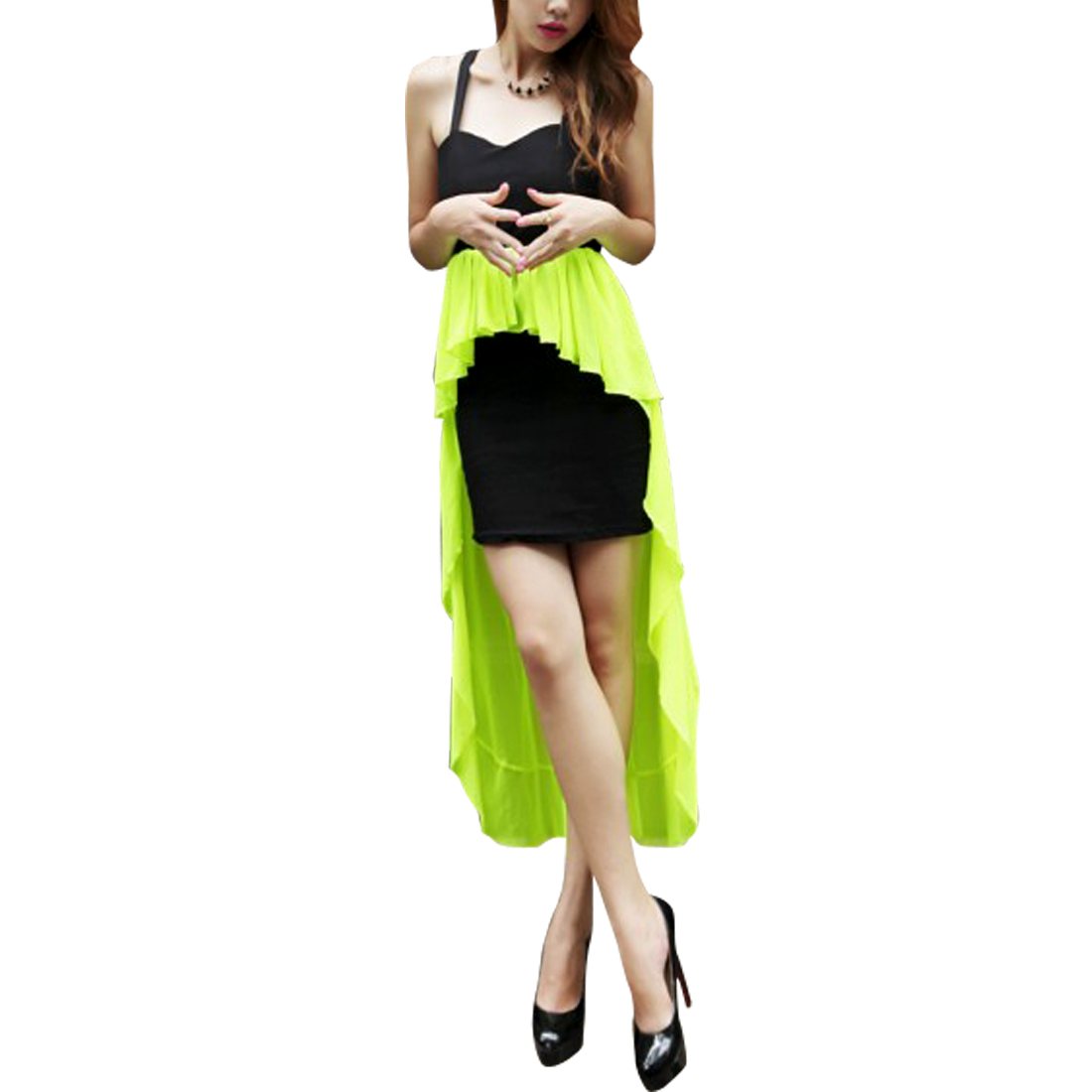 Women Sleeveless Sheath Dress Lime Black XS