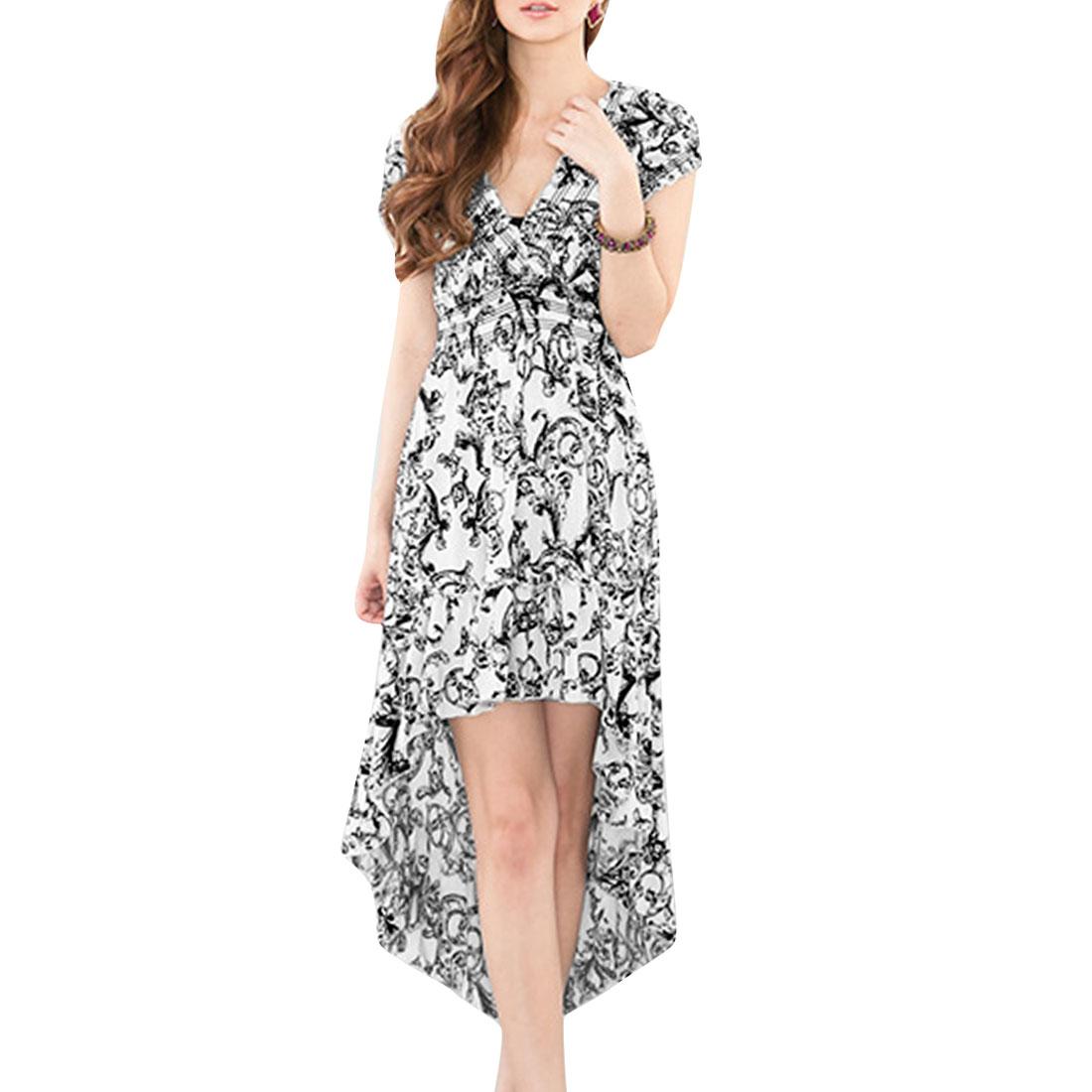 Women V Neck Elastic Waist Sleeveless Floral Pattern Summer Dress White XS