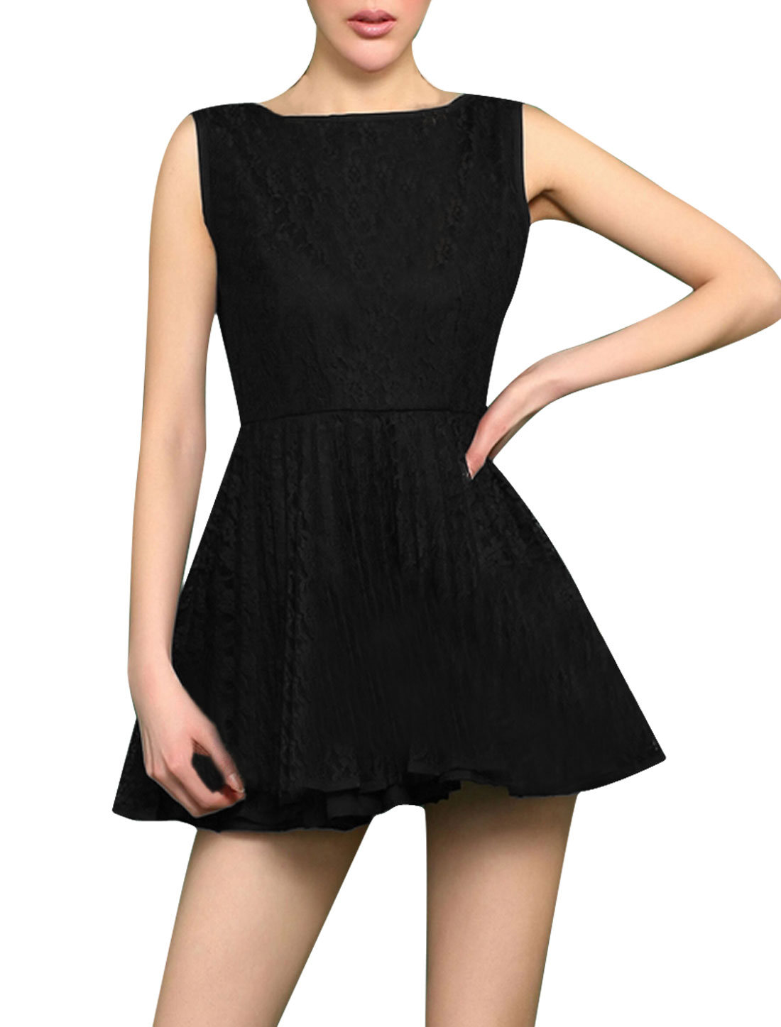 S Ladies Crochet Style Deep V Back Sleeveless Sexy Party Summer Dress Black