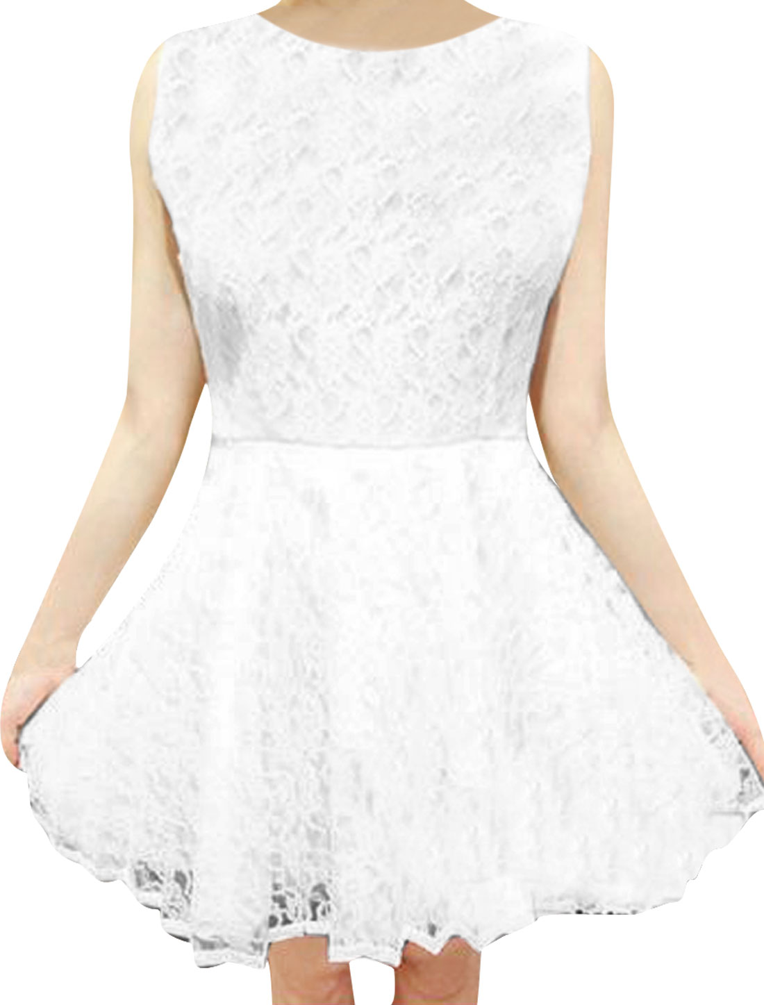 Women Sleeveless Design Solid Color Crochet Lace Pullover Dress S White