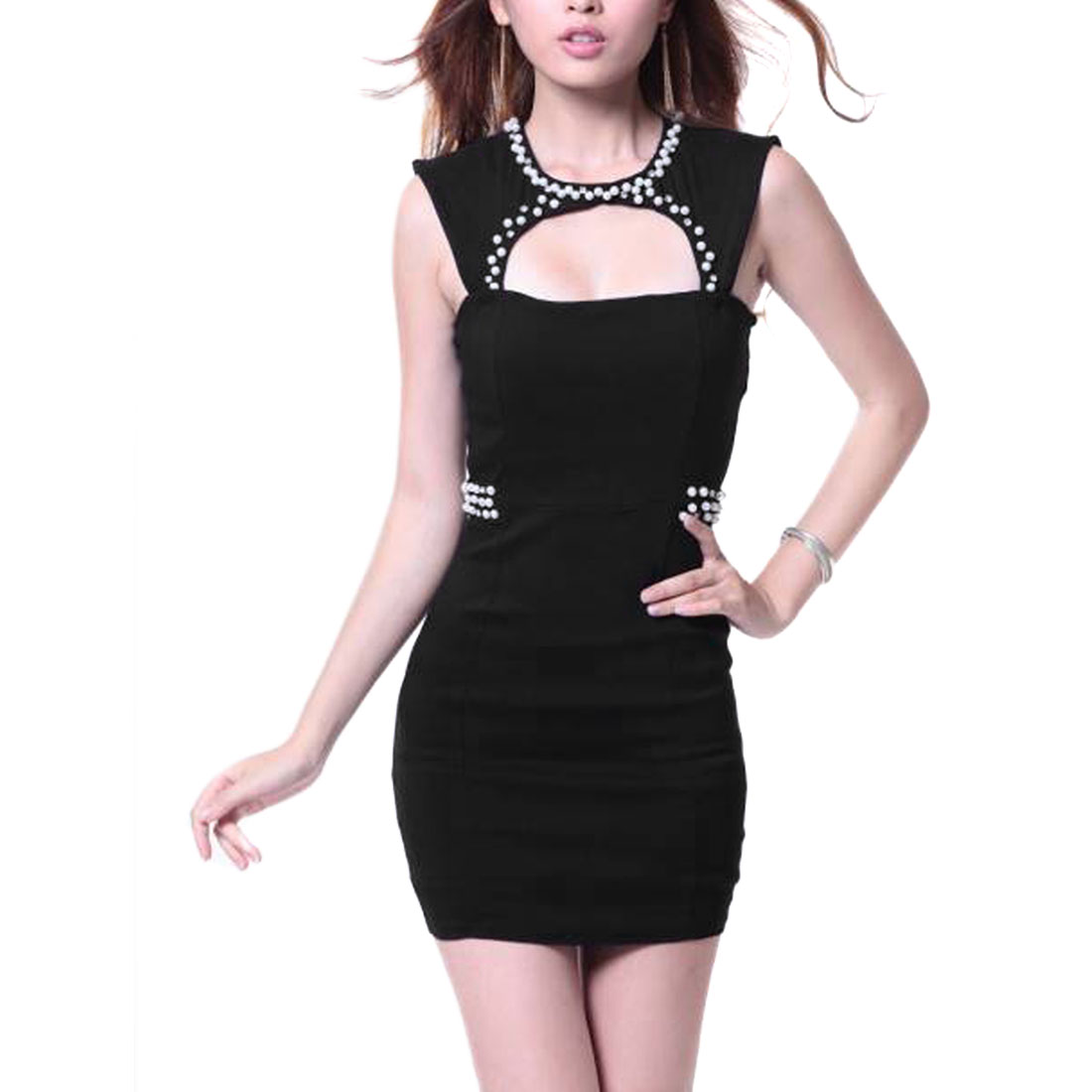 Women Zip Up Sleeveless Beads Detail Dress Black XS