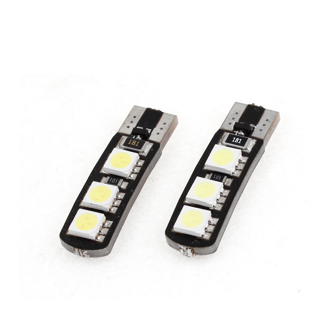 2 x No Error T10 White 6 LED 5050 SMD Dashboard License Plate Light Bulb for Car