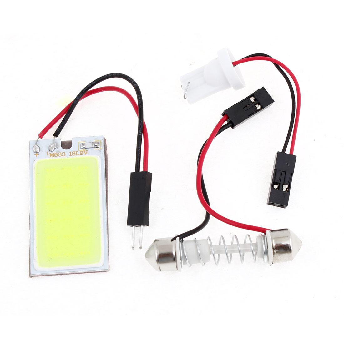 Auto Super Bright White 18 COB LED Light Bulb Panel + T10 Festoon Adapters