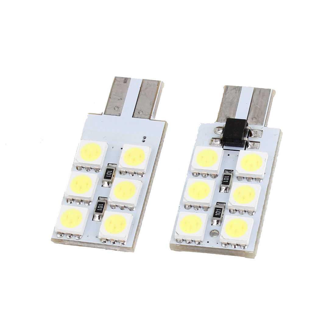 2pcs White 12 LED 5050 SMD Canbus Dashboard Dash Light Lamp Bulb T10 for Car