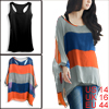 Women Batwing Sleeve Design Royalblue Orange Blouse w Tank Tops L