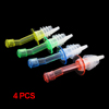 4 Pcs Yellow Clear Plastic Oil Liquor Wine Pourer w Stopper