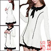 Ladies Lace Panel Peter Pan Collar Long Sleeve Mini White L