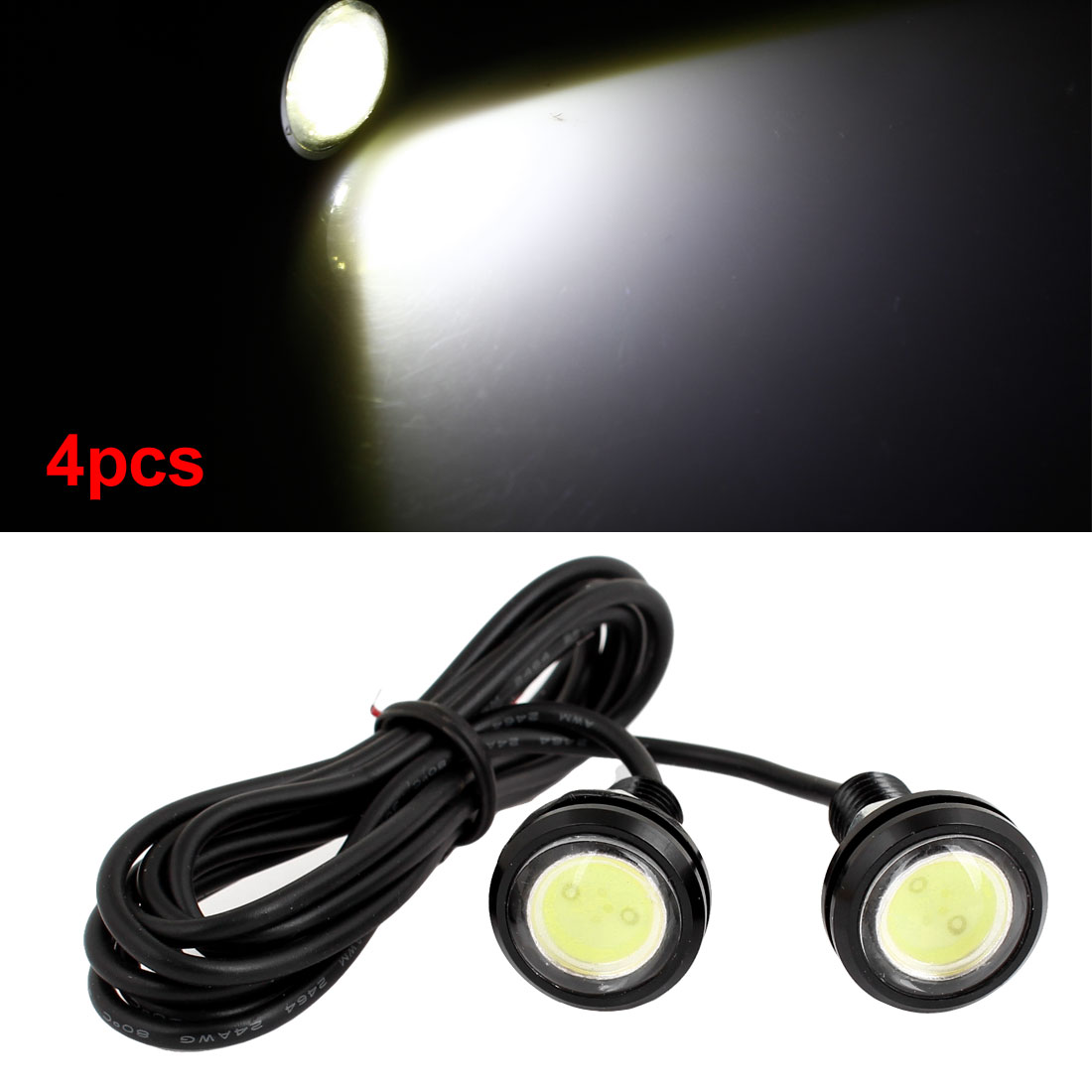 4pcs Auto 23mm Dia White Eagle Eye LED Bulb Reverse Lamp Daytime Running Light
