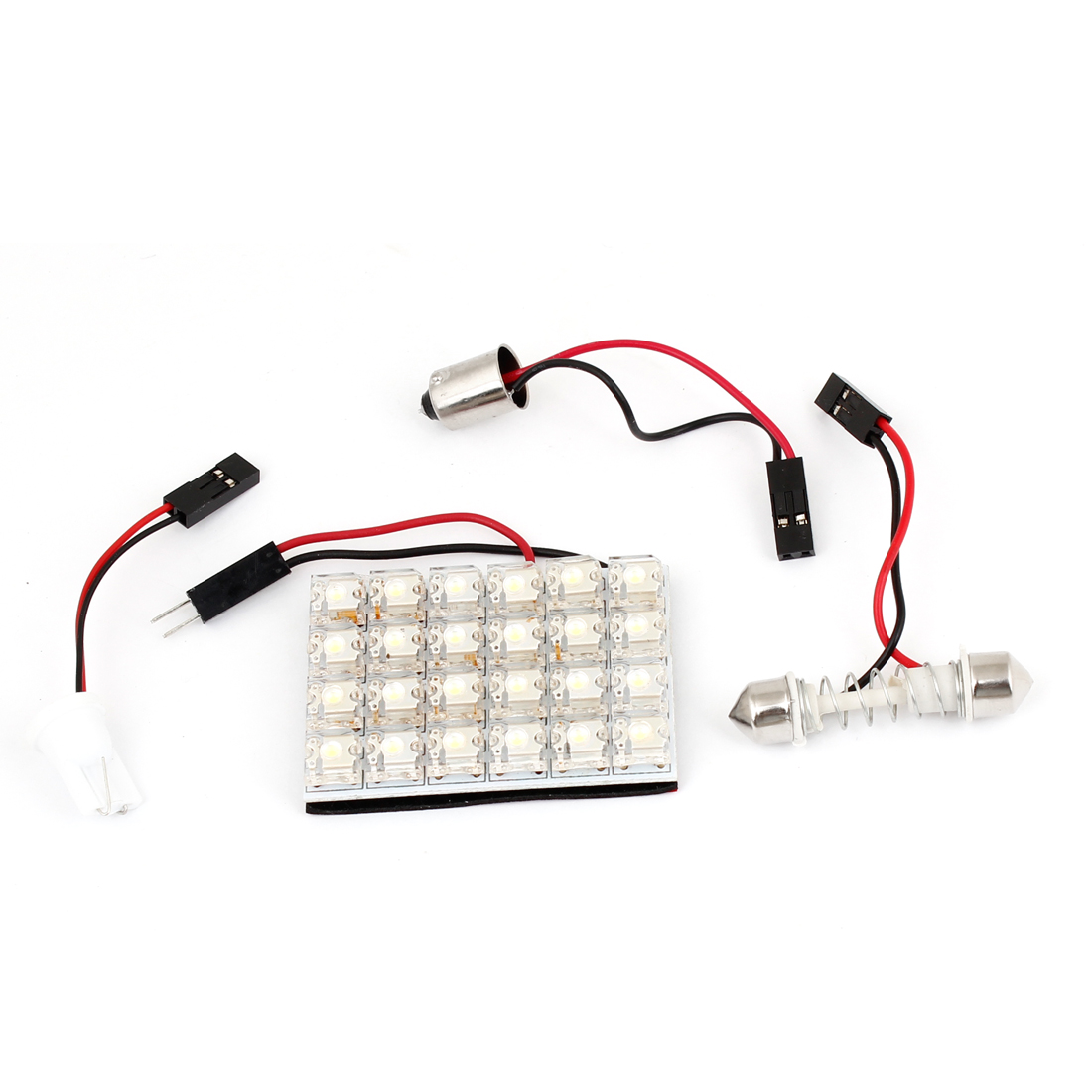 White 24 LED Dome Map Light Panel Bulb + T10 BA9S Festoon Adapter for Car