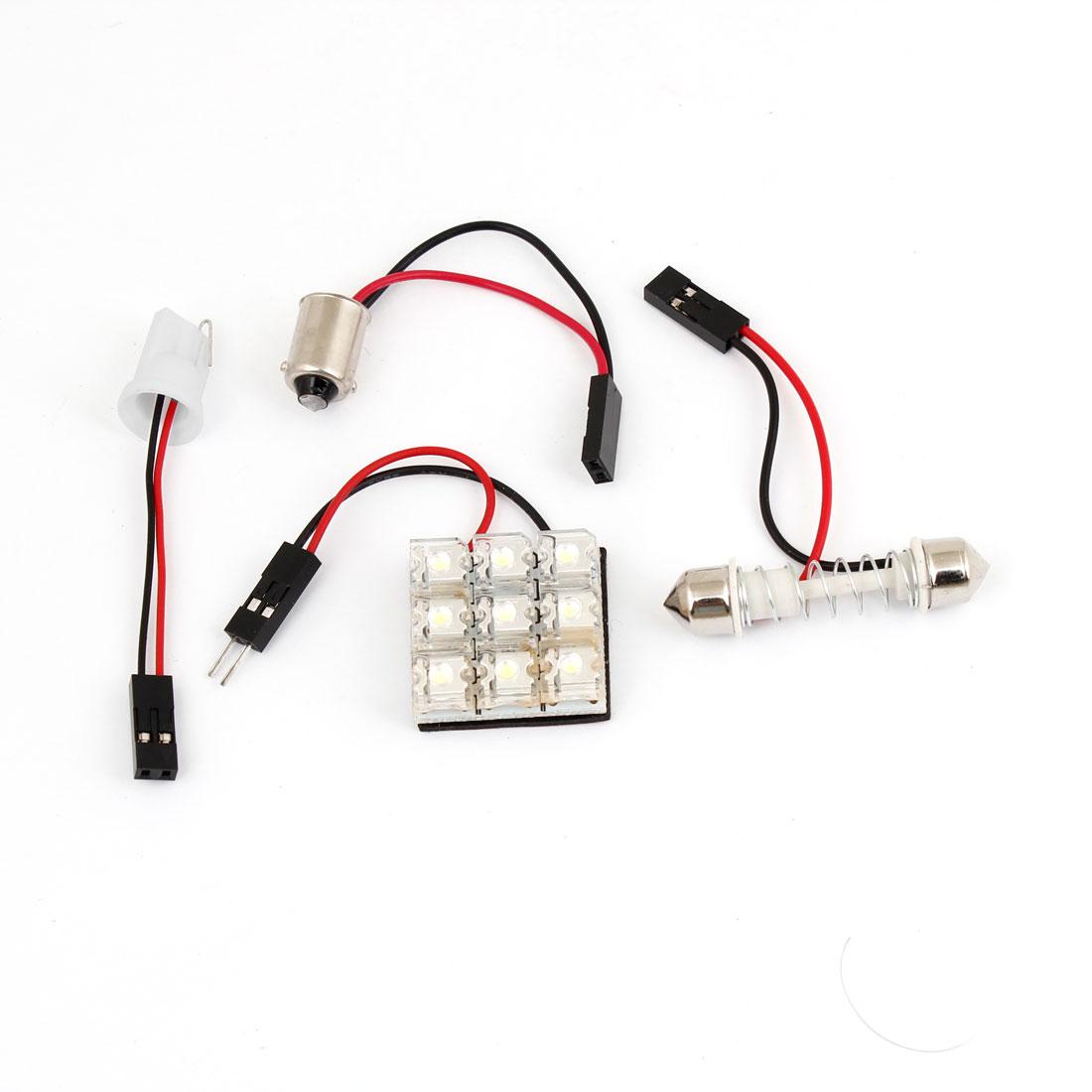 White 9 LED Dome Roof Light Bulb Panel w T10 BA9S Festoon Adapter for Car
