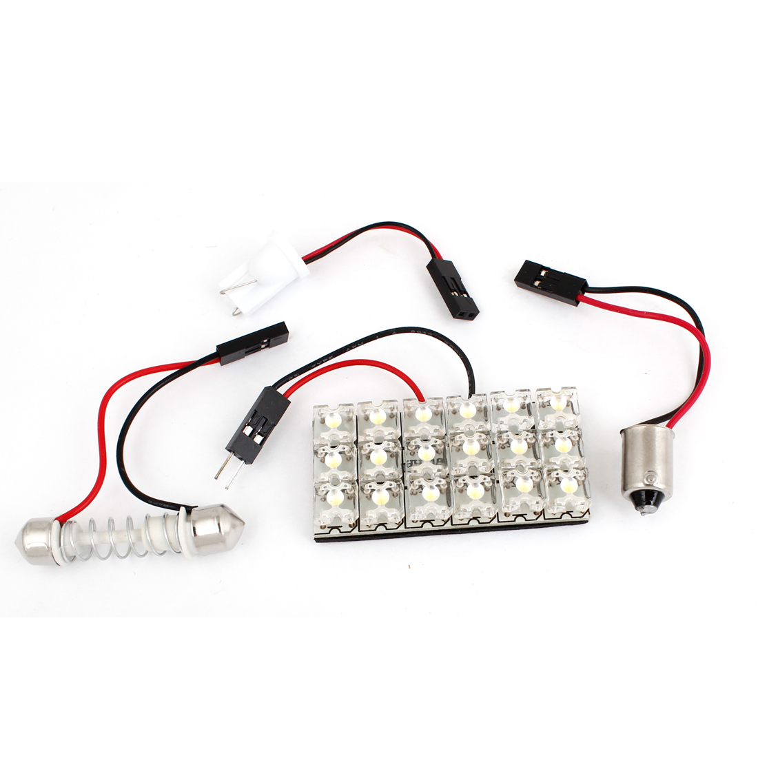 Auto 18-LED Roof Dome Map Lamp Bulb Panel White w T10 BA9S Festoon Adapter