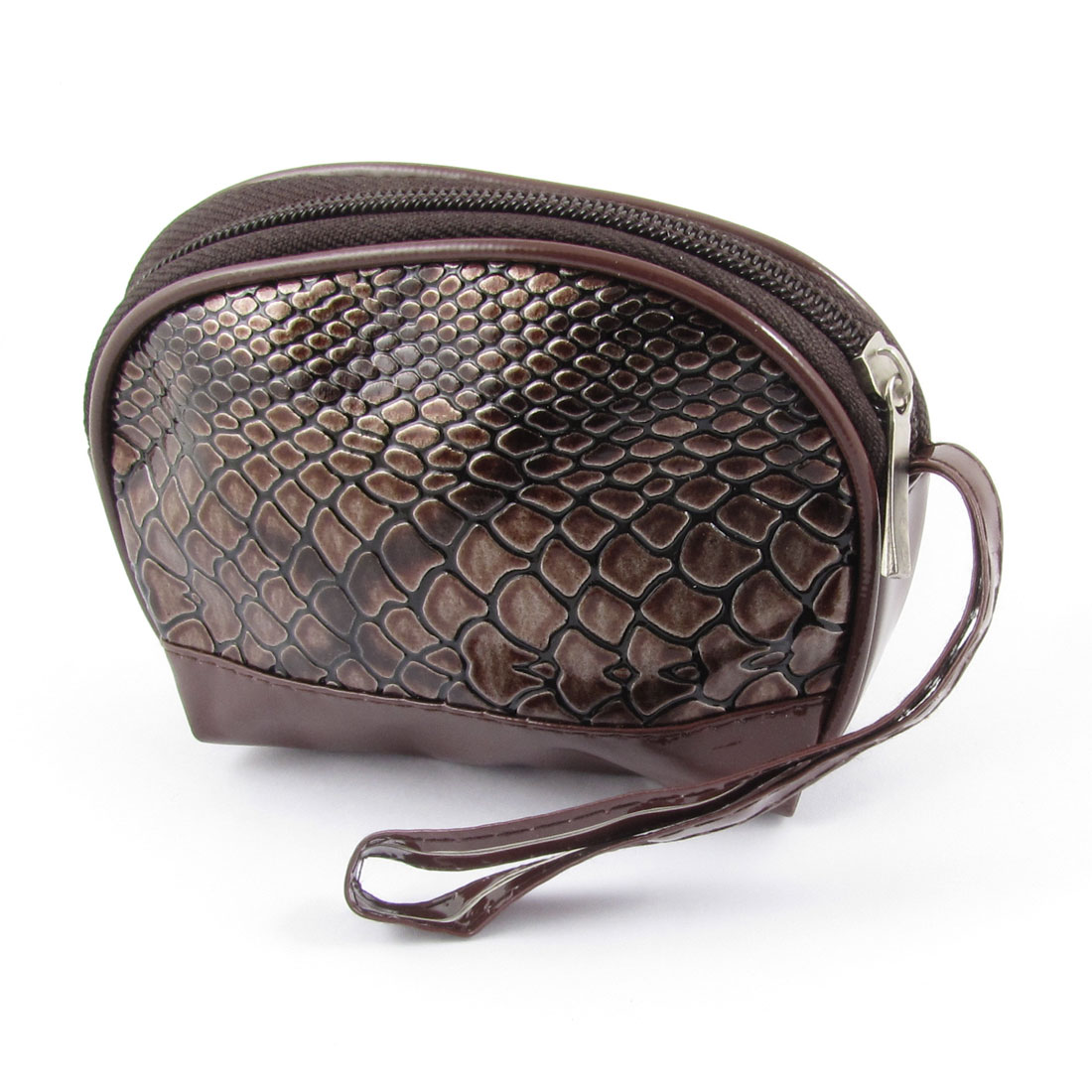 Coffee Color Snake Embossed Faux Leather Zip Up Purse Wallet Bag for Ladies
