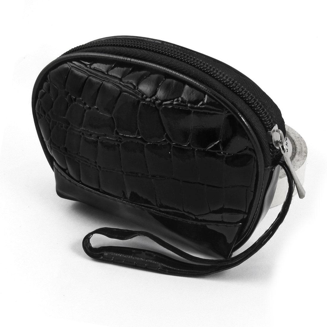 Women Stone Block Pattern Zipper Closure Coins Purse Holder Black w Strap