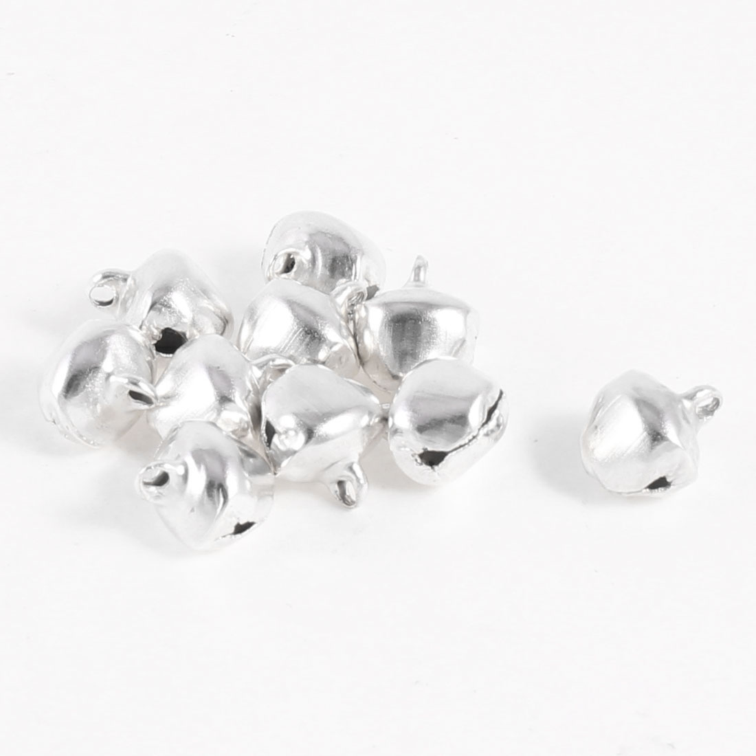10 Pcs Xmas Tree Ornament Silver Tone Ring Bells 10mm Dia Xmzic