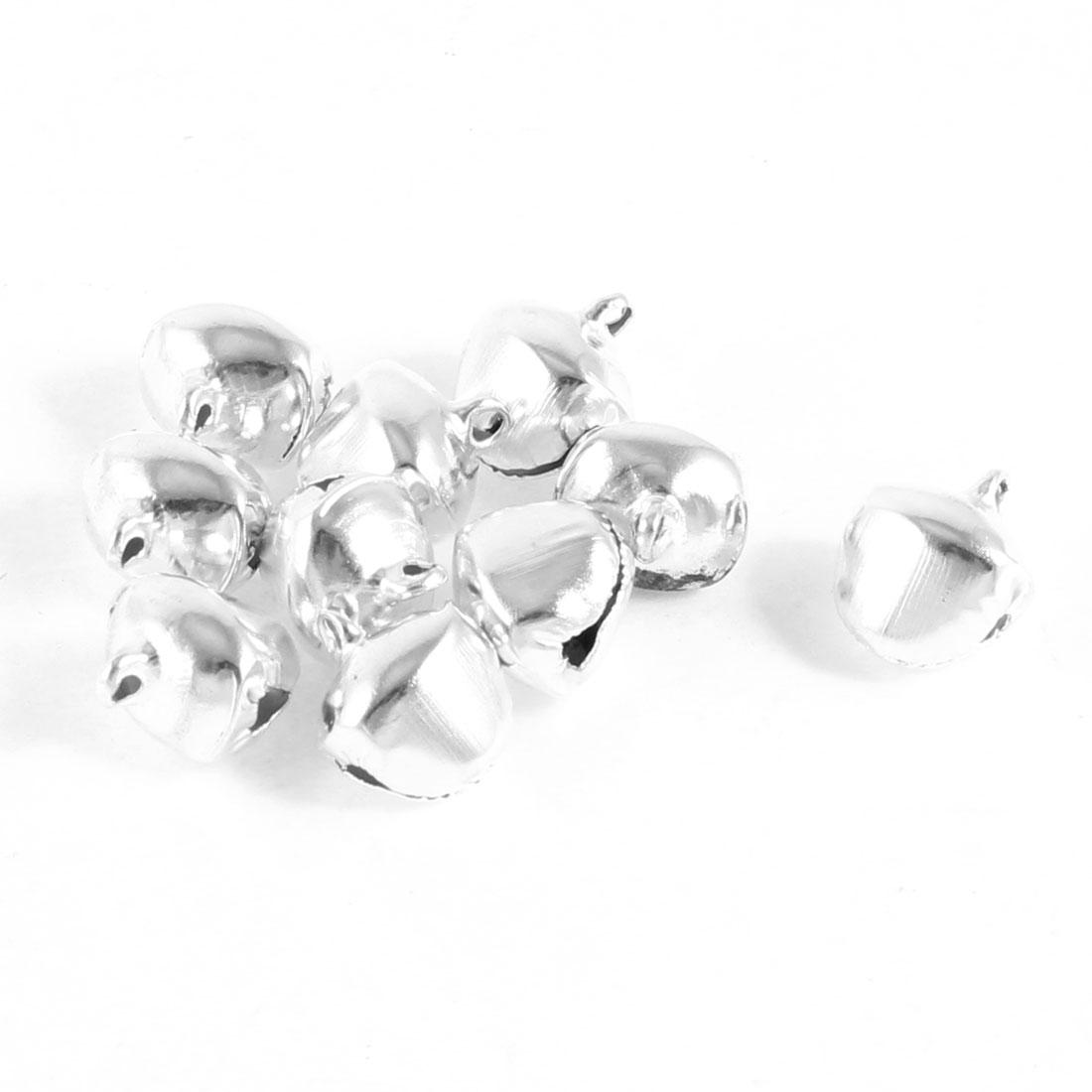 10 Pcs Xmas Tree Ornament Silver Tone Ring Bells 17mm Xmzic