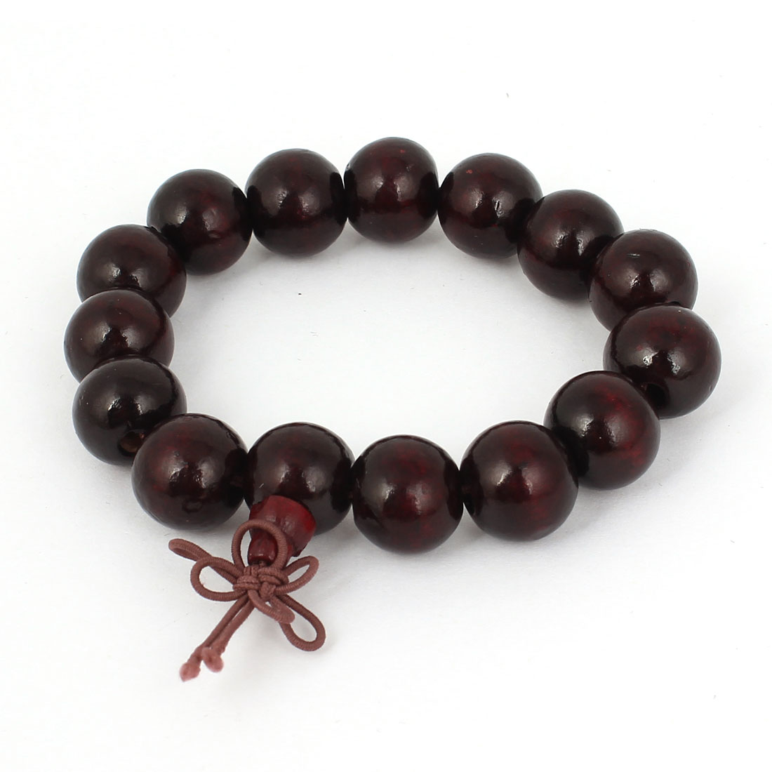 Strecthy Wrist Band Buddha Beads Chinese Character Bangle Bracelet Dark Brown