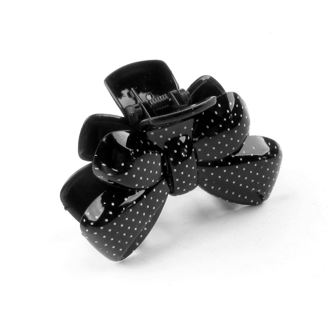 Women Black Plastic Bowknot Shape Spring Loaded Toothed Claw Hairpin Hair Clip
