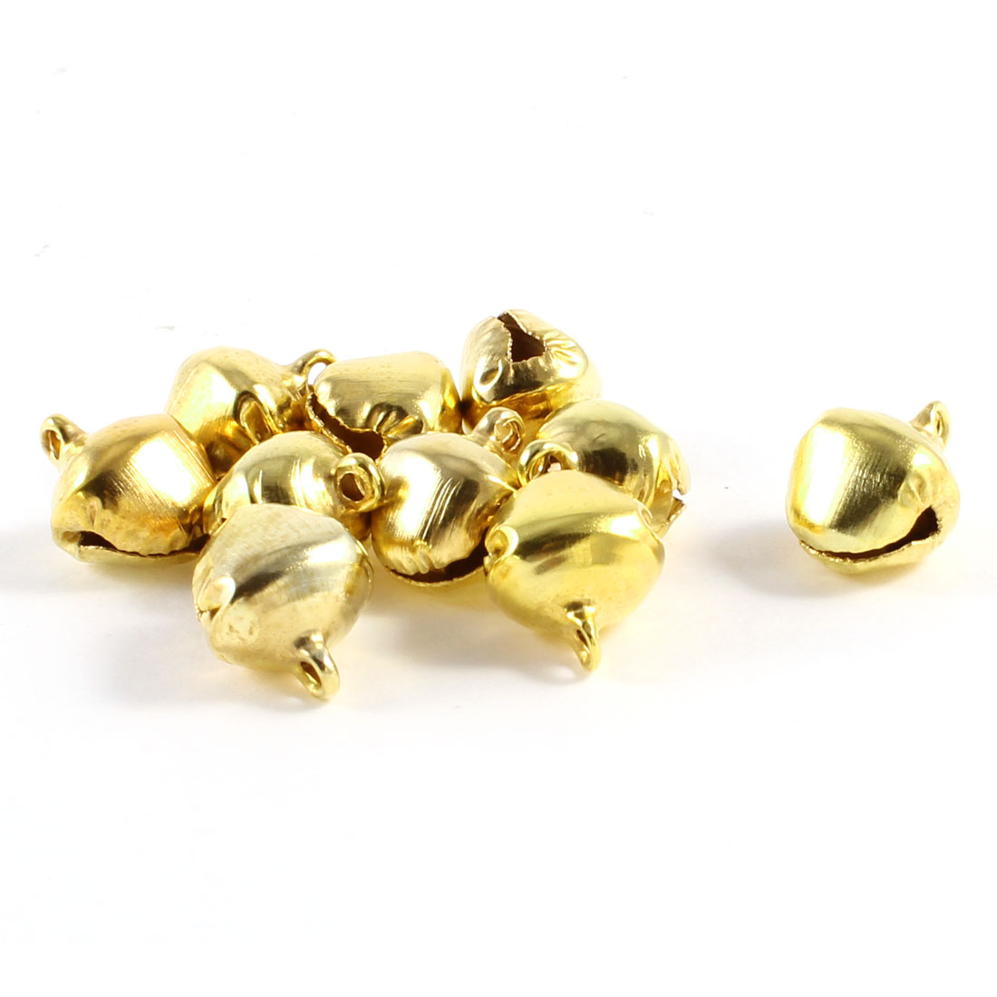 12mm Dia Gold Tone Ring Bells Christmas Tree Decor Xmas Ornament 10 Pcs