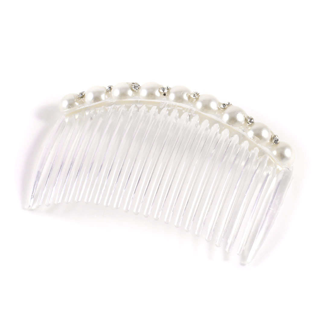 Ladies 23-Teeth Plastic Beaded Rhinestone Decoration Hair Clip Comb White