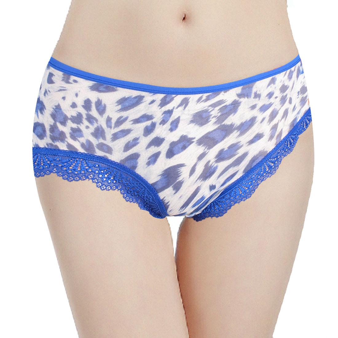 Woman Elastic Waist Dark White Leopard Print Underwear Underpants Briefs XS