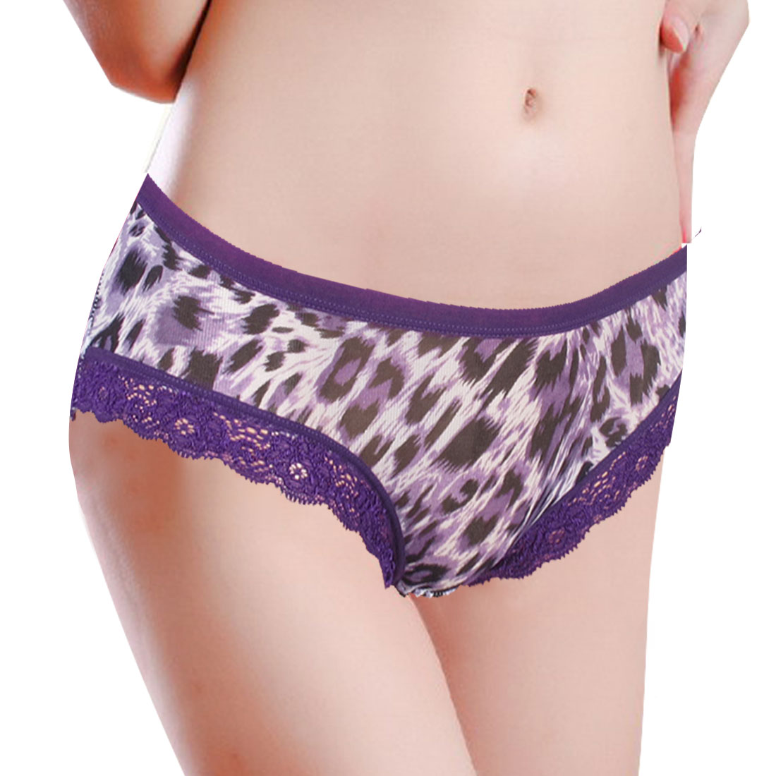 Elastic Waist Black Purple Leopard Print Briefs Panties XS for Ladies
