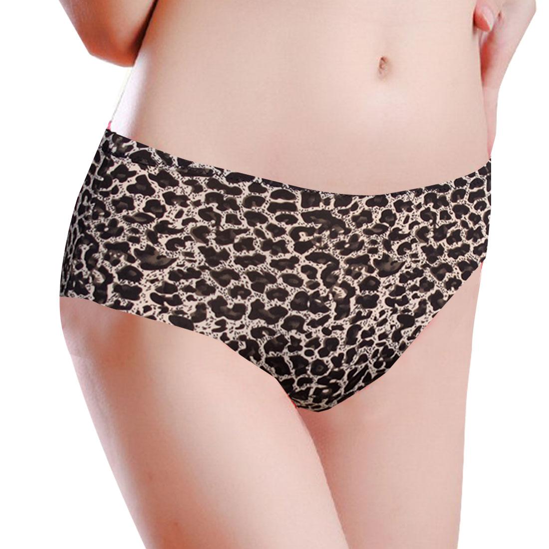 Woman Low Waist Black Leopard Pattern Seamless Underpants Briefs White XS