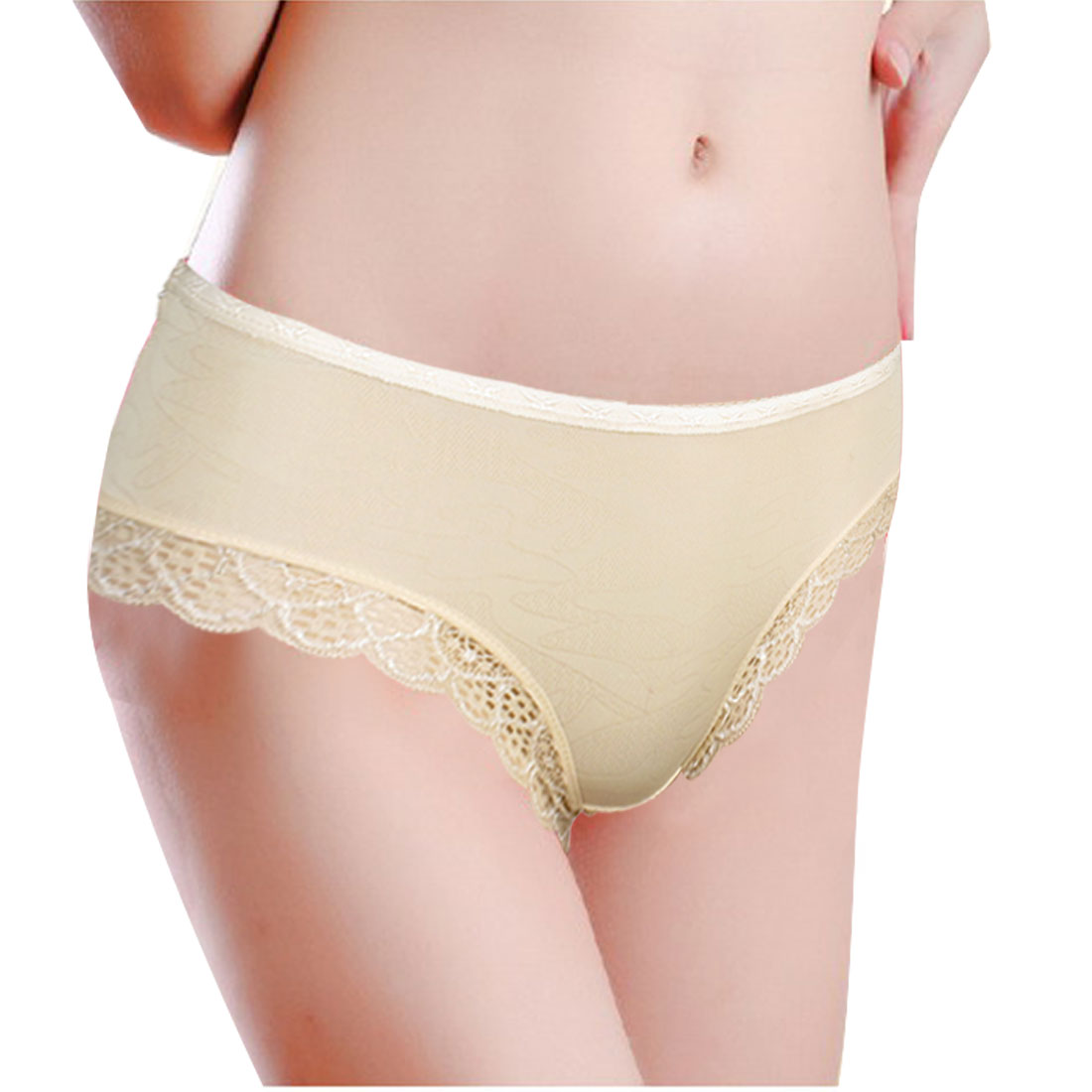 Beige Laced Cuff Hollow Out Hip Underpants Briefs XS for Ladies