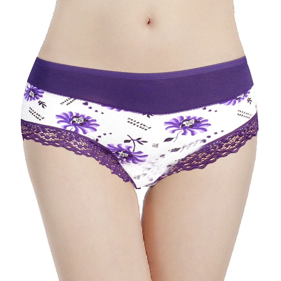 Woman Stretch Waist Purple Flowers Pattern Underpants Briefs Panties White XS