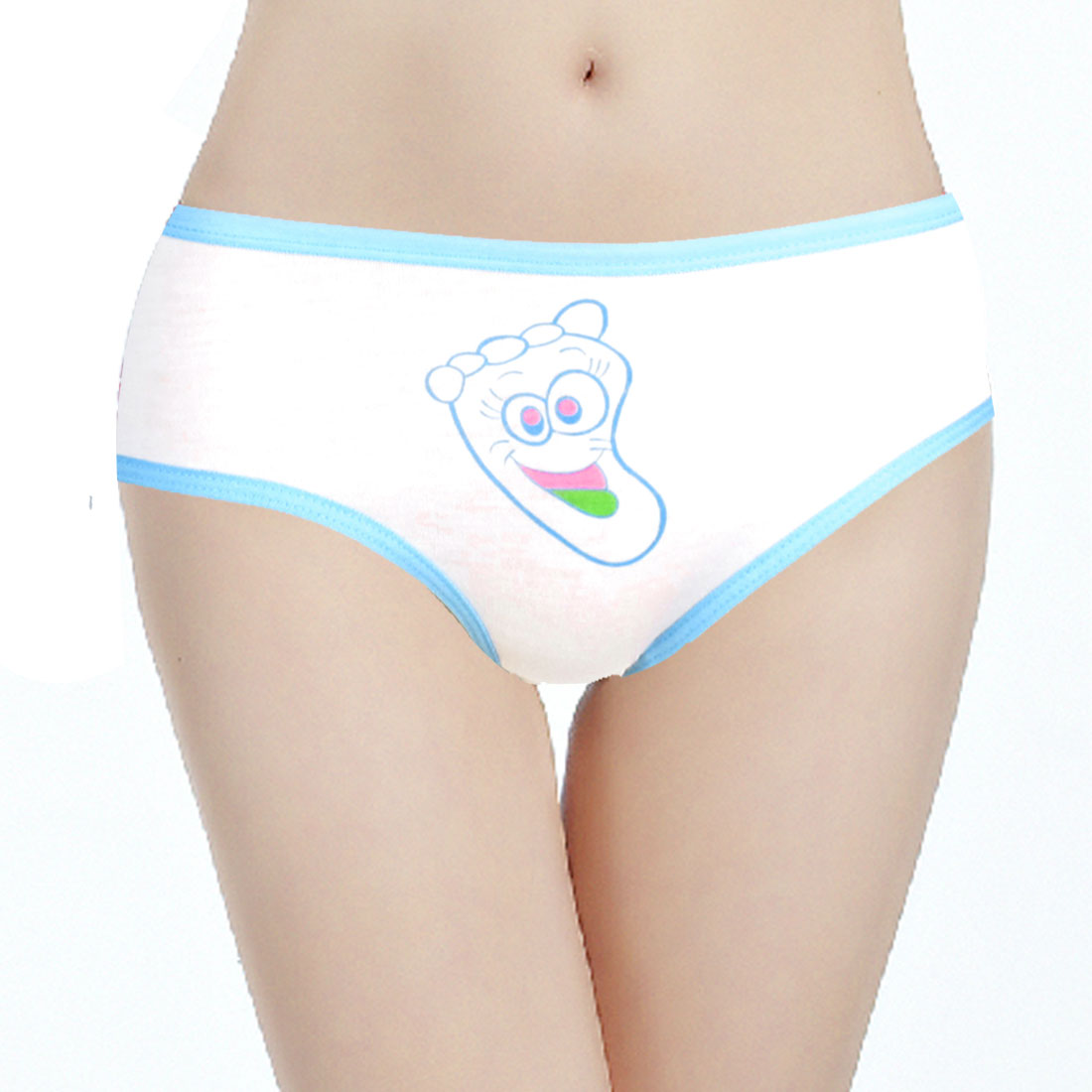 Blue Elastic Rim Leaf Pattern Underpants Briefs White XS for Ladies