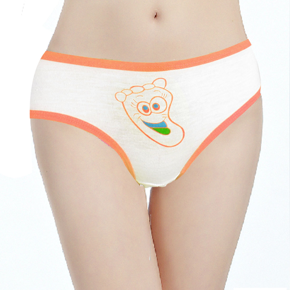 Women Orange Stretchy Waist Foot Print Underwear Briefs White XS